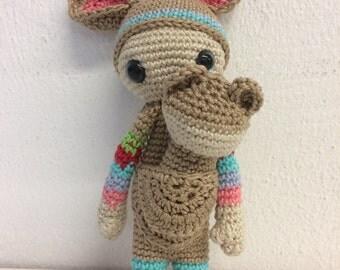 Crochet doll Lalylala mini kangaroo with baby