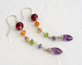 Long Rainbow earrings, 925 Silver, precious stones, colorful earrings, long swinging, Garnet, Amethyst,.
