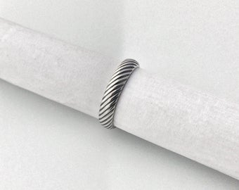 Sterling silver stripes stacking ring