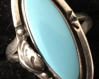 Fabulous 1970s blue Turquoise Sterling silver Native American ring