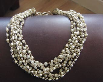 Vintage Mini Pearl and chain choker