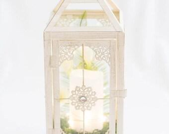 Lantern/White Lantern with Candle/Vintage Wedding Lantern/Candle Holder/Shipping Included/Wedding Decor/Wedding Lighting/White Metal Lantern