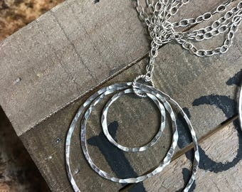 Past, Present and Future Circles of Sterling Silver Necklace.  Light weight and easy to wear both casual and dressy