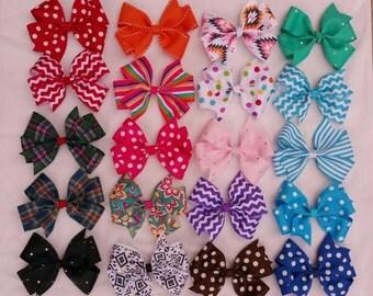 Big Hair bows Spring/Summer- 5 inch Pinwheel Hairbows - Set of 3/Girls Hair Bows/Toddler Hairbows/Solid hairbows/Pattern hairbows