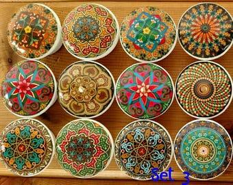 """Set 12 Oriental Mandala Warm Tones Wood Knob Size 1.5 (1 1/2"""") Kitchen Wood Knob, Dresser Knob, Cabinet Drawer Pull, SALE Home Decor"""