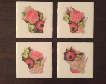 Floral Wisconsin Map Tile Coasters (Set of 4)