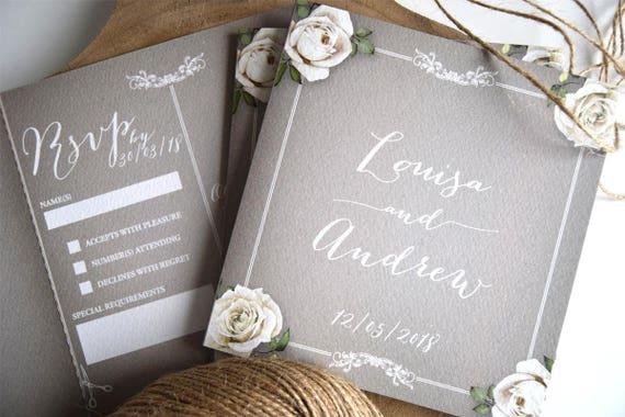 Vintage Floral Framed Chalkboard Wedding Invitation Sample (Grey)