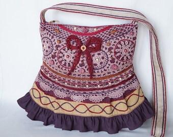 Brown bag, maroon bag, crocheted lace bag, large bag, vintage bag, crossbody bag boho, gypsy bag, shabby chic bag, romantic bag, beaded bag