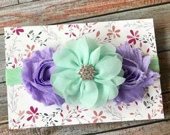 Lavender & Aqua Headband, Aqua Headband, Lavender Headband, Baby Headband, Newborn Headband, Toddler Headband, Girls Headband, Headbands