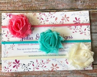 3 MINI Shabby Chic Headbands/MINI Baby Headband/Baby Headband Set/Newborn Headband/Baby Hair Bow Set/Baby Headband/Infant Headband/Baby Girl