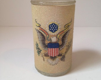 Vintage 1970 Bicentennial Patriotic American Eagle Presidential Seal Textured Glass Candle Holder