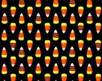 Glow in the Dark Candy Corn from the Fantastic Glows Collection by Henry Glass, Halloween Fabric, Glows in Dark