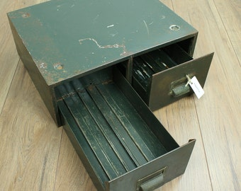 Vintage metal drawers - 1940s two drawer office cabinet - vintage office unit - vintage home office storage
