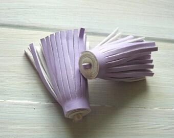 Tassel Pendant - Leatheroid, Purple 6 cm
