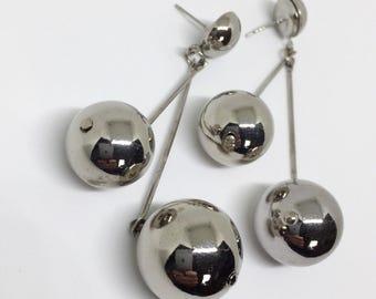 Silver Earrings 3 inches long Art Deco Modern Style Earrings Pendulum Swinging Silver Jewelry Long Earrings Dangle Earrings