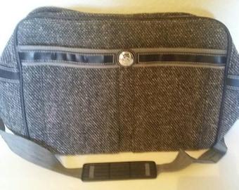 Vintage 90s Jordache Grey Tweed Overnight Carry On Travel Bag