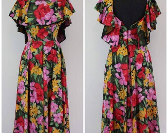 Vintage 1970s Floral Midi Dress - 70s 80s Ruffle Midi Maxi Flowy Dress- Size XXS, XS, Extra Small