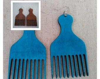 Afro Pick Earrings - Blue Pick Earrings - Natural Wood Earrings - Afrocentric Earrings - Black People Earrings - Black Power - Buy Black