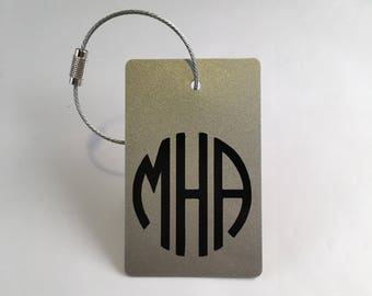 Luggage Tags -  (7 Tags) Silver and Black Monogram Luggage Tag, Personalized Luggage Tags, Custom Gift, Travel Gift, Groom, FREE SHIPPING