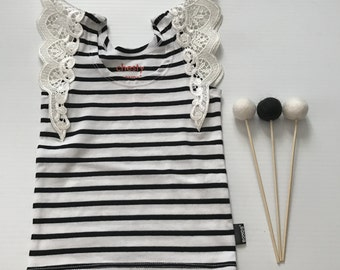 000- Flutter Sleeve Singlet- Black/White Stripe