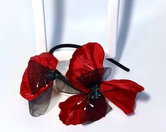 Red Poppy flower Fascinator  poppy headband Headband Evening wear Races Hair Accessory Handmade