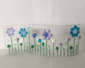 Floral Glass S Curved Plaque, Floral Candle Display,Fused Glass,Kilnformed Glass,Home Decor, Gift for her, Birthday Gift, Teacher's Gift