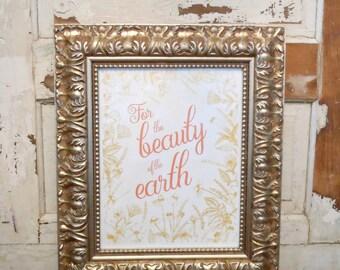 Peach and Gold Script Art Print