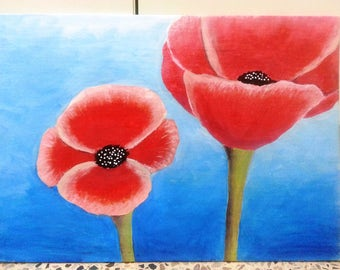 """Original Abstract, modern art painting  Red flower poppies acrylic on canvas  39 x 28cm on board 16"""" x 11"""" gift"""