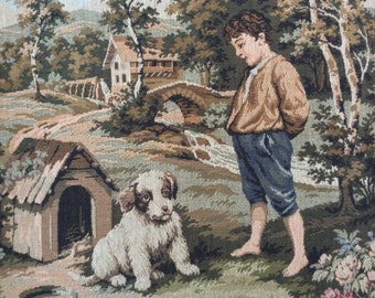 Vintage French rural tapestry boy and dog scene mural brocade fabric