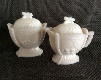 Vintage Westmoreland milk glass creamer sugar set 1963 Cherry Line # 109