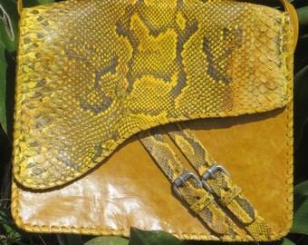 Yellow Gola leather/snakeskin Crossbody Bag with ankara lining, snakeskin, adjustable, crossbody bag,yellow snake skin, adjustable strap,
