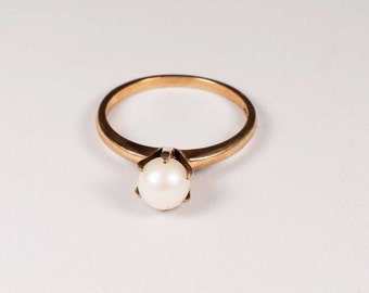 10K Yellow Gold 6.3mm. Estate Pearl Ring, size 7