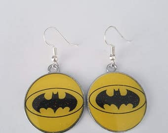 Batman Superhero Bat symbol sign logo Earrings
