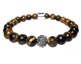 Mens bracelet Tiger Eye and Sterling Silver 428