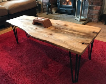 Solid Beech coffee table, wayney/live edge. Stunning flamed grain pattern.