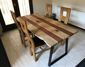Oak and mahogany dining table.