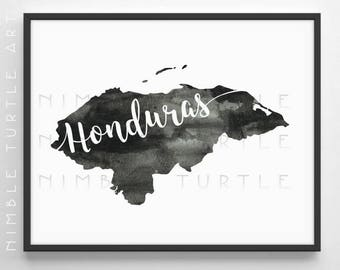 Honduras Watercolor Map  -  Black and White  -  Gallery Wall Art