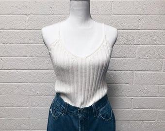 White 90s j.crew baby rib spaghetti strap sweater top vintage 90s summer sweater -medium