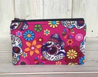 Coin Purse,Small Coin Purse,Small Change Purse,Small Zipper Purse,Change Purse,Credit Card Holder,Handmade,Handmade Purse,Candy Skull Fabric