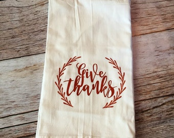 Give Thanks Thanksgiving Tea Towel, Fall Flour Sack Towel - Rust Color with Rust Glitter