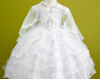 Girls White Baptism Gown Dress Corset Embroidered Virgen Maria / Vestido Bordado con Virgen Maria