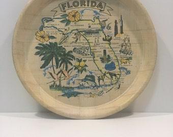 Vintage Florida bamboo tray FREE SHIPPING