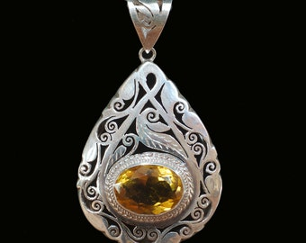 Citrine and Silver Pendant, Handmade