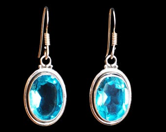 Aquamarine Silver Earrings