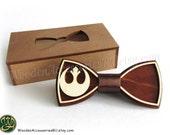 Wood bow tie Rebel Alliance, wooden unisex accessory for Star Wars fans