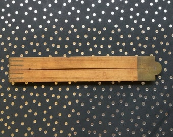 Antique Wood Folding Ruler, Architects Rule with Brass Fittings
