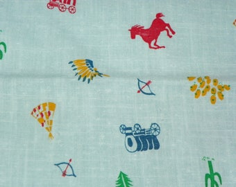 Novelty Western Cotton Blend Quilting Fabric Material with Stagecoaches Tepees Horses Cactus Head Dresses