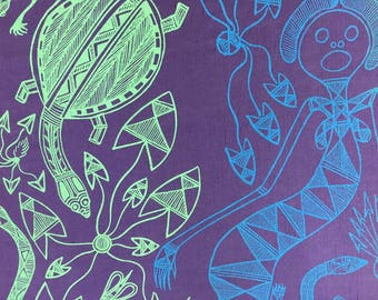Fabric Length 1 m silk/linen - Mermaid Design by Gabriella Maralngurra