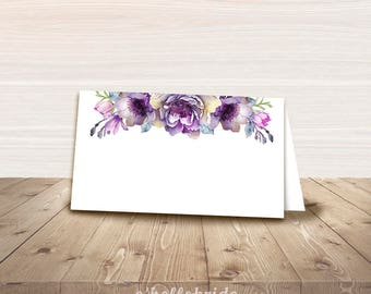 Printable Purple Floral Food Tent Cards - Food Labels - Bridal Shower Place Cards - Baby Shower Tent Cards - Wedding Place Cards 031