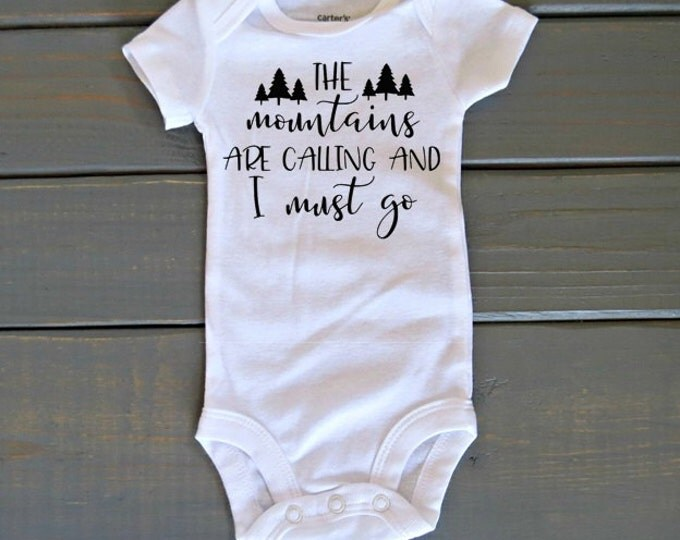 Mountains Are Calling Bodysuit, Adventure Shirt, Woodland Baby Clothing, Baby Shower Gift, Camping Shirt